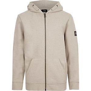Kiezelkleurige hoodie met rits voor jongens