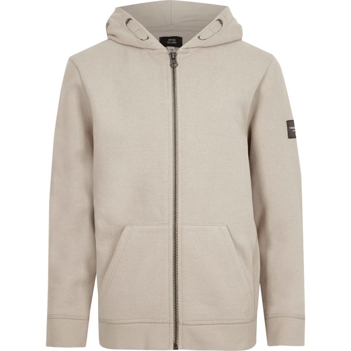 Boys stone zip up hoodie
