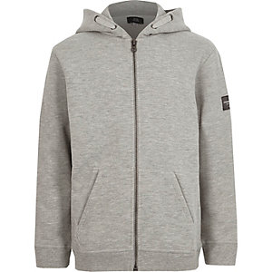 Boys grey marl zip up hoodie