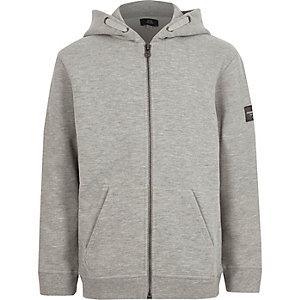 Sweat à capuche gris chiné zippé pour garçon