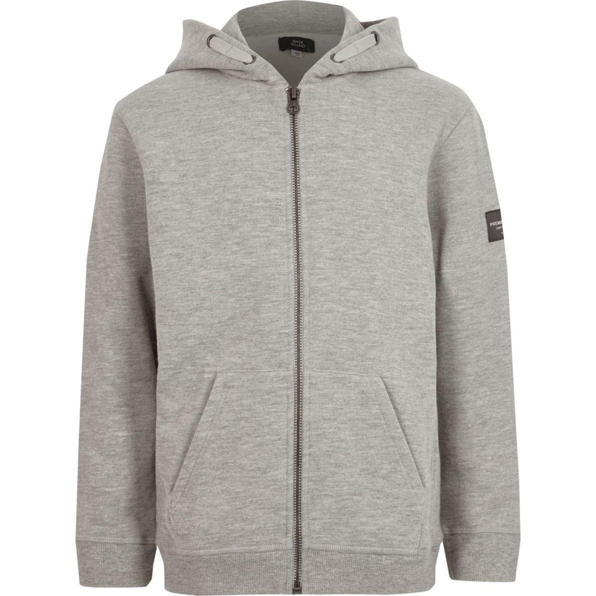 Boys grey marl zip up hoodie