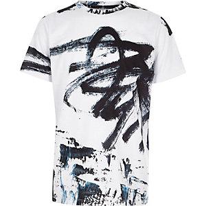T-shirt oversize imprimé graffiti blanc pour garçon
