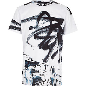 Wit oversized T-shirt met graffitiprint voor jongens