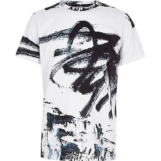 Boys white graffiti oversized T-shirt