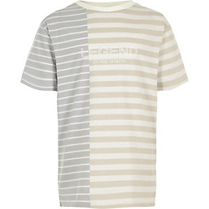Boys cream block stripe 'legend' T-shirt