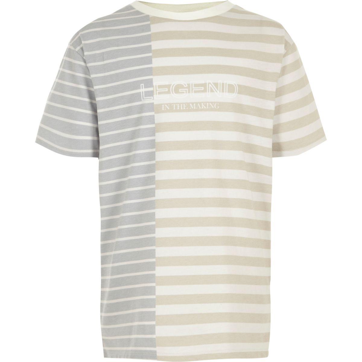 Boys cream block stripe 'legend' T-shirt