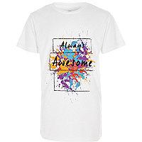 Boys white 'always awesome' print T-shirt
