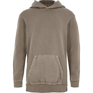 Kiezelkleurige geweven hoodie met zak voor jongens