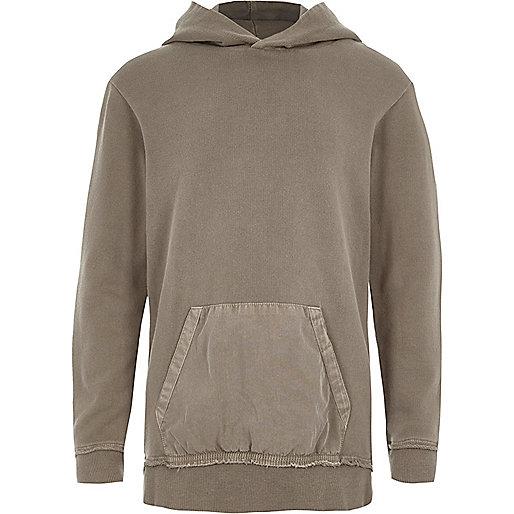 Boys stone woven pocket hoodie