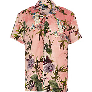 Boys pink hawaiian print short sleeve shirt