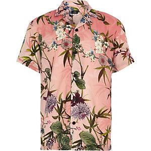 Roze overhemd met korte mouwen en hawaïprint
