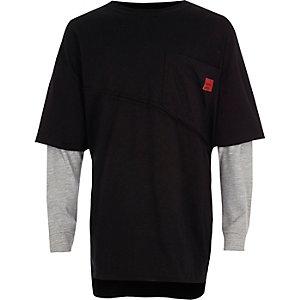 Zwart gelaagd T-shirt met lange mouwen voor jongens