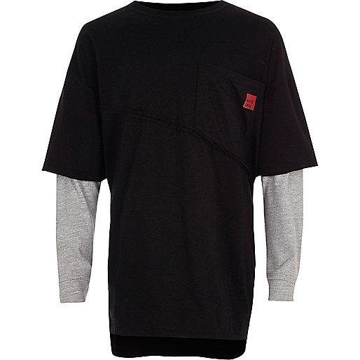 Boys black long sleeve double layer T-shirt