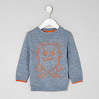 Mini boys blue monster front knit jumper