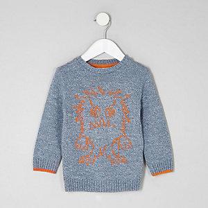 Mini - Blauwe gebreide pullover met monsterprint voor jongens