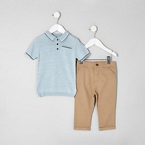 Mini boys blue polo and tan chinos outfit