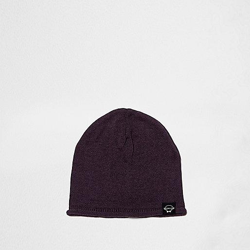 Mini boys purple knit slouch beanie hat