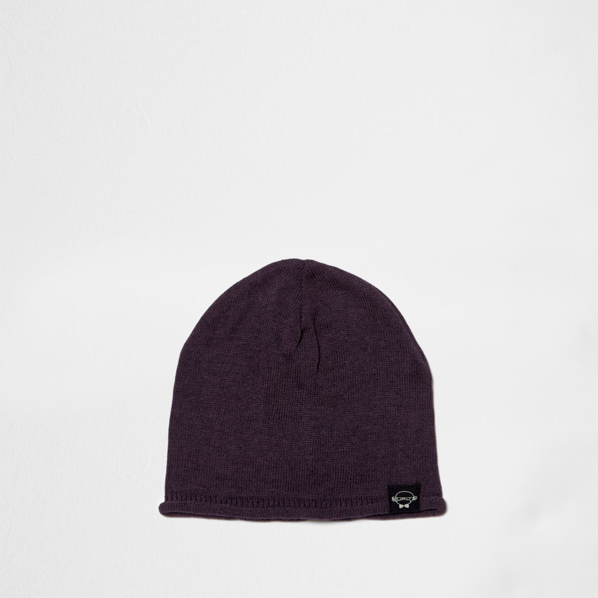 Mini boys purple knit slouch beanie hat