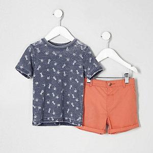 Mini - Outfit met T-shirt met ananasprint en short voor jongens