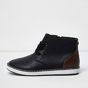 Boys black block lace-up ankle boots