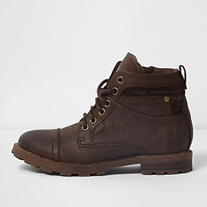 Boys dark brown mixed fabric work boots