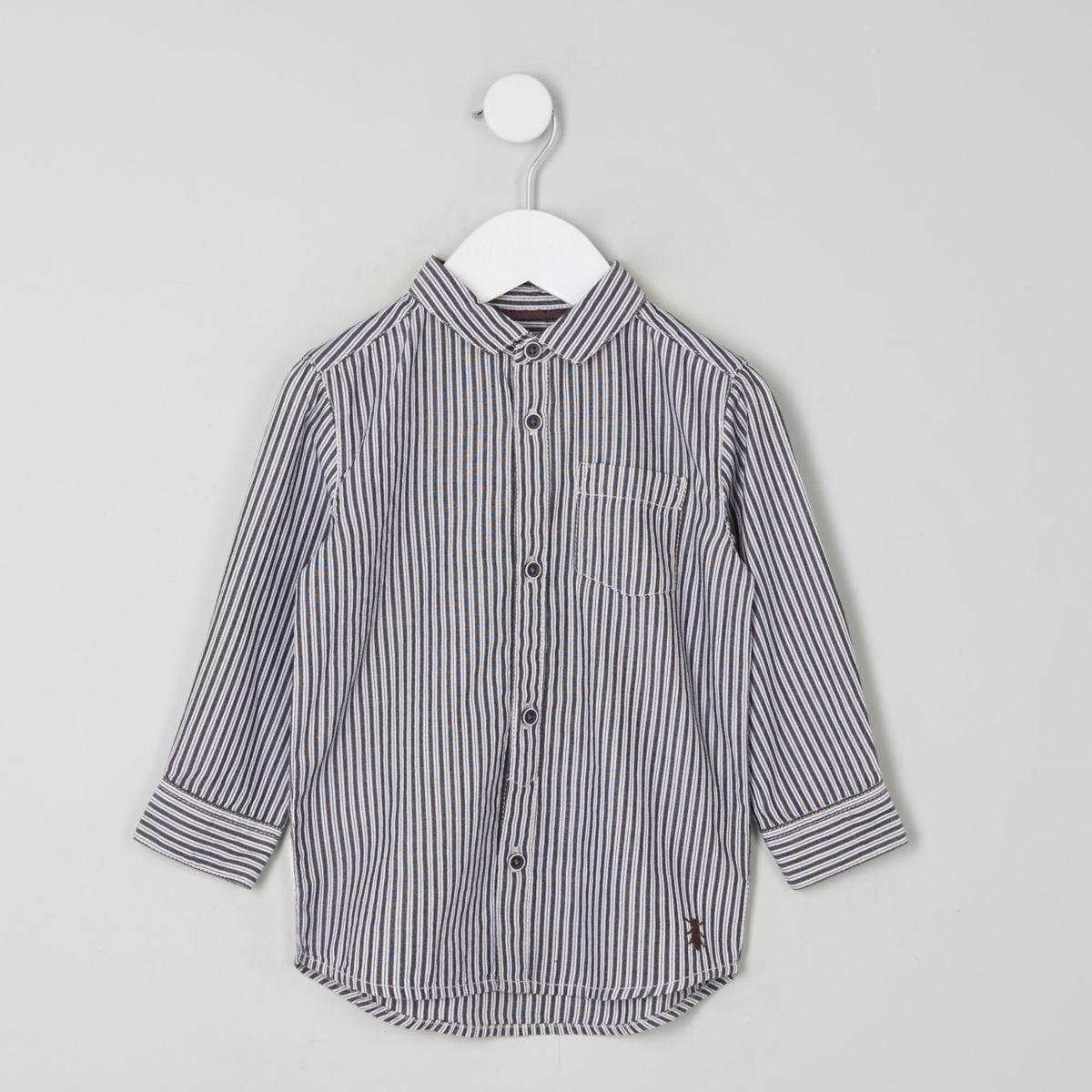 Mini boys dark grey stripe bug hem shirt