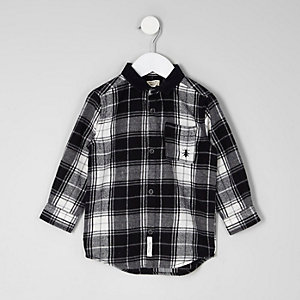 Mini boys black check long sleeve shirt
