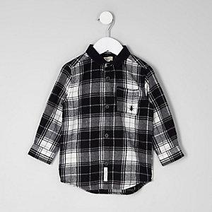 Mini boys black check long sleeve shirt