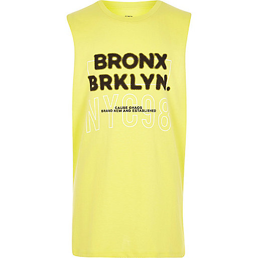 Boys lime green 'Bronx' print tank
