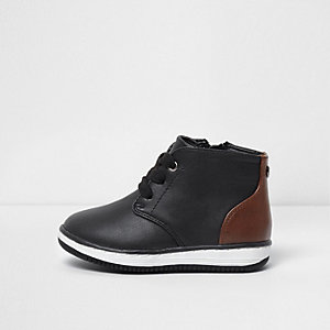 Mini boys black and tan lace-up boots