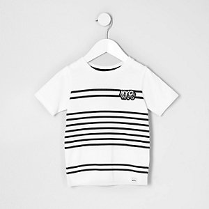 Mini boys white stripe 'NYC' print T-shirt