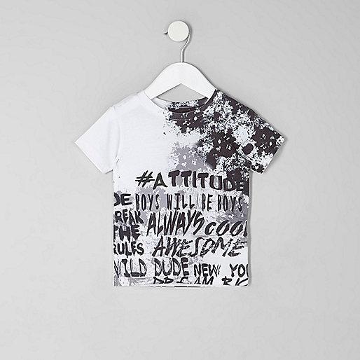 Mini boys white graffiti fade print T-shirt