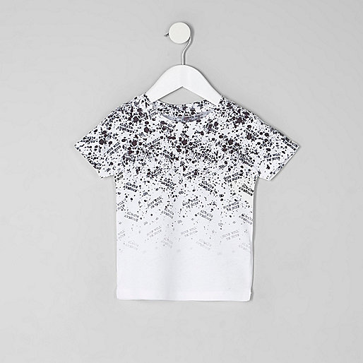 Mini boys white word fade print T-shirt