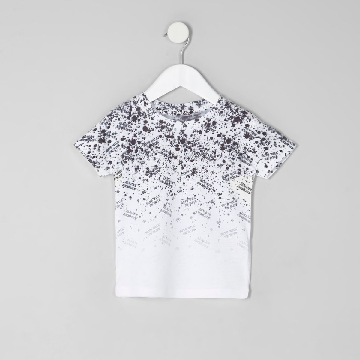 Mini boys white word fade print T-shirt