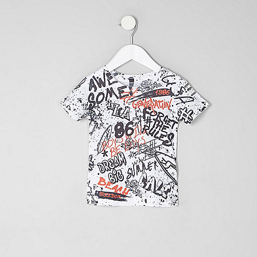 Mini boys white graffiti print T-shirt