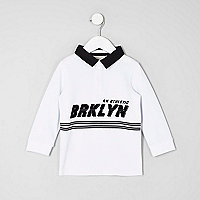 Mini boys white 'Brkyln' rugby shirt