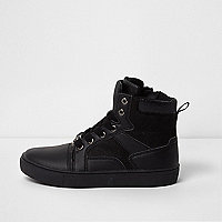 Boys black double tongue hi top trainers