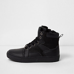 Boys black double tongue hi top sneakers