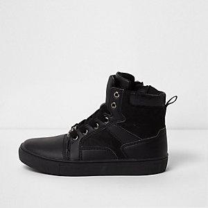 Zwarte hoge sneakers met dubbele tong voor jongens