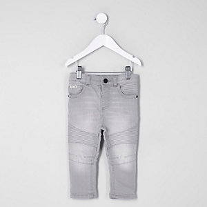 Mini boys grey Sid skinny biker jeans