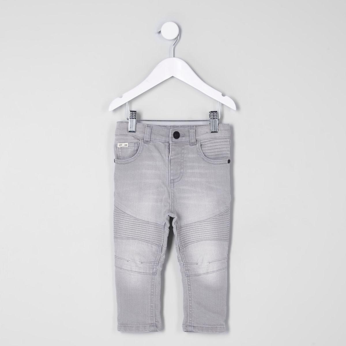 Mini boys grey Sid skinny biker jeans