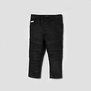 Mini - Sid - Zwarte skinny bikerjeans met coating voor jongens