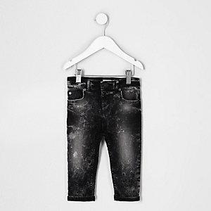 Mini - Sid - zwarte acid wash skinny jeans voor jongens