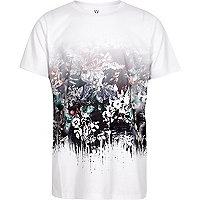 Boys white flower fade print T-shirt