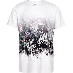 Wit T-shirt met vervaagde bloemenprint voor jongens