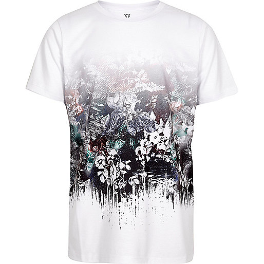 Boys white flower fade print T-shirt
