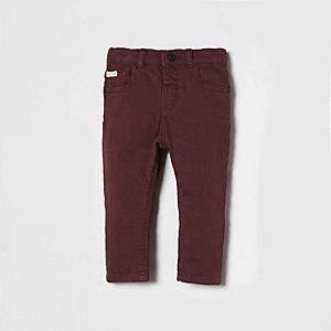 Mini - Sid - Bordeauxrode skinny jeans voor jongens