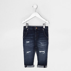 Tony – Blaue Loose Fit Jeans im Used Look