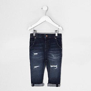 Mini - Tony - Blauwe distressed ruimvallende jeans voor jongens