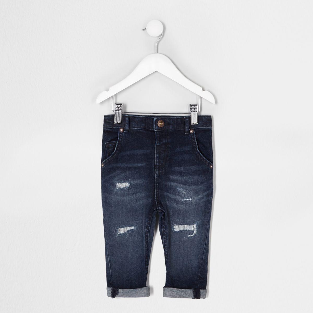 Mini boys blue distressed Tony slouch jeans